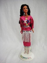 Native American Barbie Doll With Stand Special Edition Pink Dress with F... - $12.19