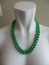 """1950's Trifari Crown Apple Green Peking Glass Necklace Bead Hand Knotted 22"""" - $49.99"""
