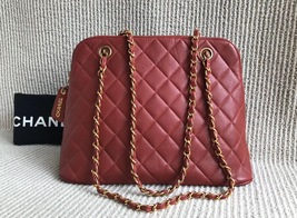 100% Authentic Chanel Vintage Red Quilted Caviar Classic Tote Bag GHW image 4