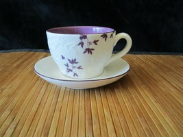 2006 Starbucks White/Purple Embossed Flowers & Leaves Coffee Mug Tea Cup... - $14.99