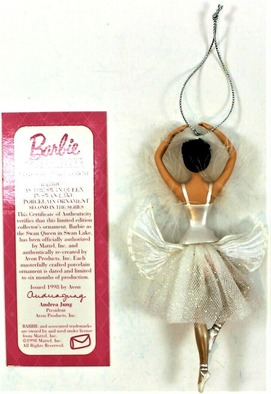 Barbie as the Swan Queen In Swan Lake Porcelain Ornament 1998 Avon