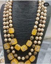 Indian Bollywood Bridal Long Haram Necklace Jewelry CZ Raani Haar Yellow... - $75.99