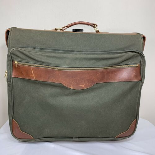 Primary image for ORVIS Luggage Battenkill Canvas Leather Rolling Travel Suitcase Green Brown Bag