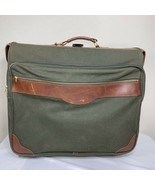 ORVIS Luggage Battenkill Canvas Leather Rolling Travel Suitcase Green Br... - $229.99