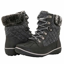 GLOBALWIN Women's Liza Winter Boots 7.5, Black/Grey - $38.80