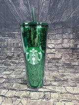 Starbucks 24 oz Holiday Green Glitter Straw Cup Travel Tumbler Cold - $39.80