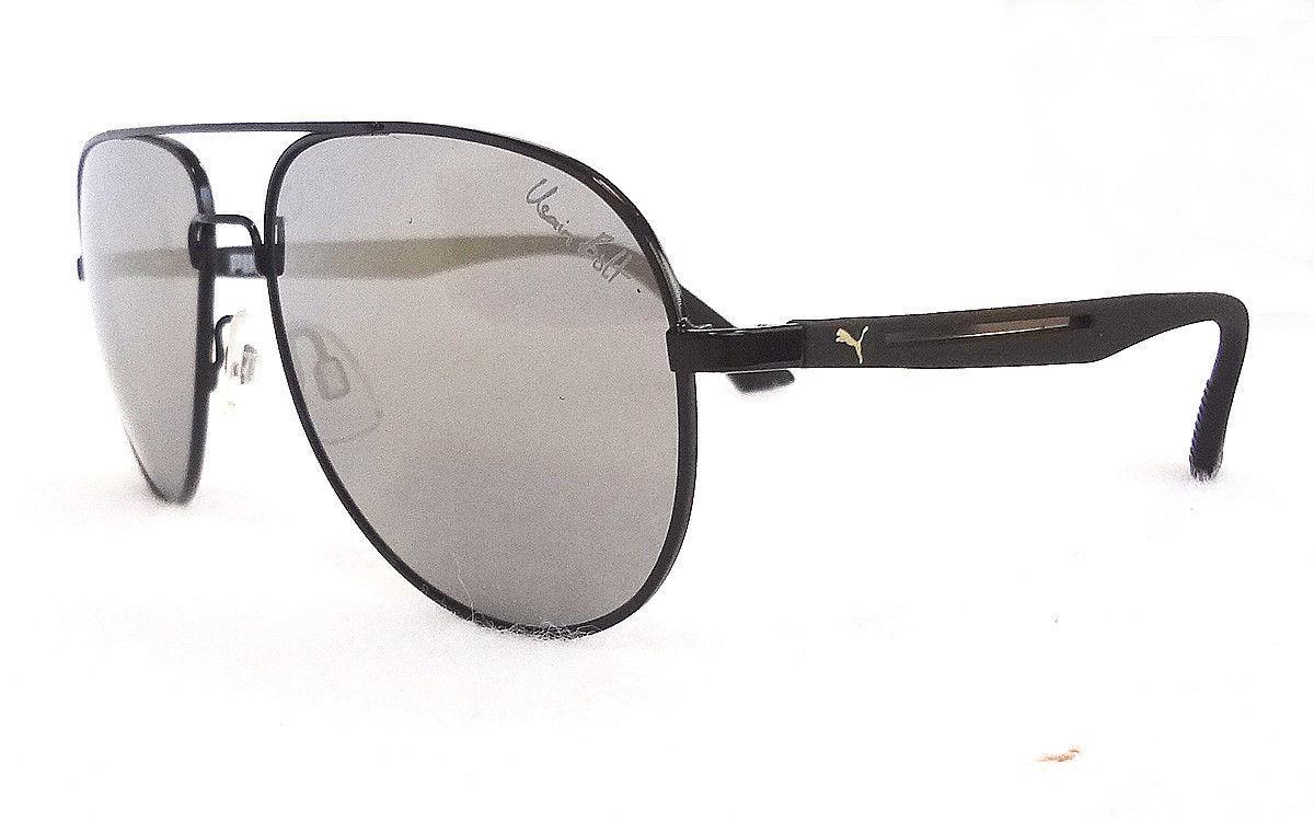 db20f054abc885 PUMA Men s Sunglasses PU0007S Black 59-16-135 Mirrored Metal Plastic - New!