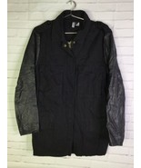H&M Divided Womens Size 12 Black Faux Leather Sleeves Moto Field Jacket ... - $24.74