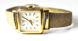 Women's Hamilton Quartz M Wristwatch 17mm Gold Filled GF Textured Silver Dial - $69.29