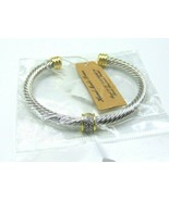 Women's Hand Made Twisted Open Cuff Bangle Two-Tone with CZ - $19.70