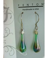 Fenton Art Glass Timeless Teardrop Earrings Nickel Free Sterling Wire Ne... - $18.00