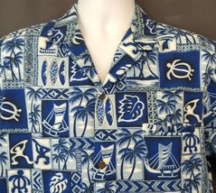 Royal Creations Blue Hawaiian Shirt M Tapa Honu Surf Boards Palm Tree Bo... - $32.82