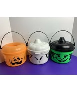 3 McDonalds Trick or Treat Halloween Pails Pumpkin Ghost Witch Bucket Happy Meal - $24.74