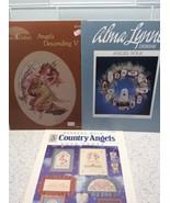 Lot Of 3 Angel Cross Stitch Patterns Charts Folk Country Mock Hickory Ho... - $10.31