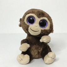 "Ty Coconut Monkey Beanie Plush Stuffed Animal 6"" Tall Sitting 2014 Glitt... - $14.65"