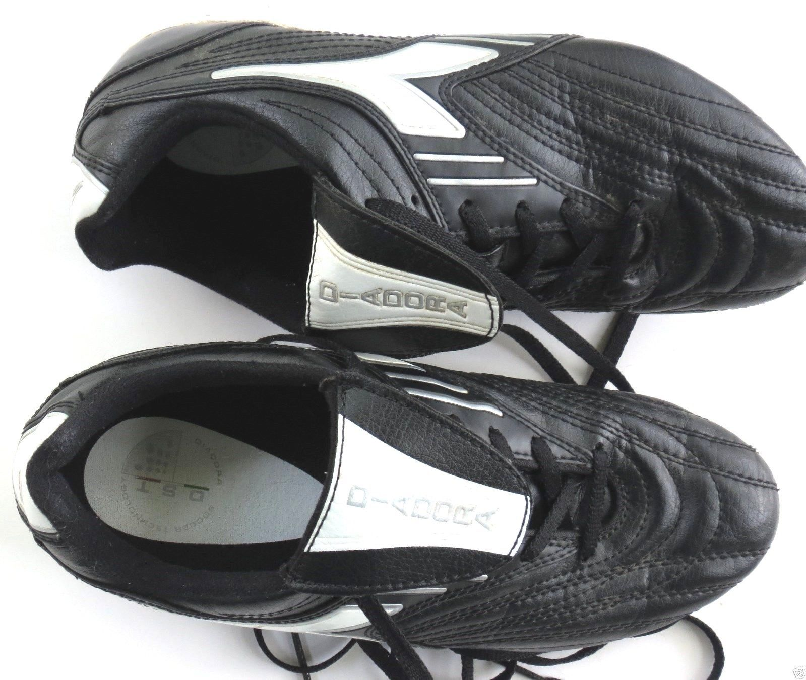 GIRLS Boys Diadora BLACK White SOCCER Shoes CLEATS 5 Youth 5Y EUR 37 0f15077252a