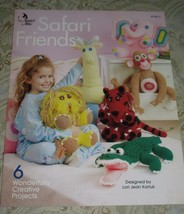 Annie's Attic Crochet Safari Friends Six Wild Animals #874412 Toys 2004 - New! - $5.23