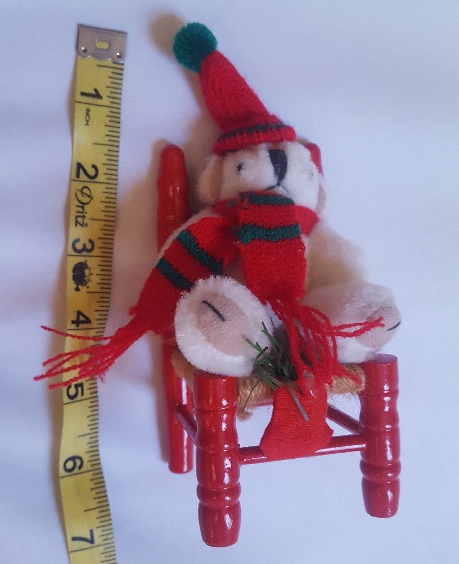 Primary image for Bear on Red Wood Twine Chair Decorative Christmas Decoration pre-owned vintage