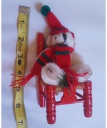 Bear on Red Wood Twine Chair Decorative Christmas Decoration pre-owned v... - $16.82