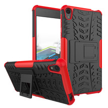 Armor Shockproof Dual Layer Kickstand Protective Case for Sony Xperia E5 - Red  - $4.99