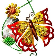 Painted Metal & Glass Orange Butterfly Garden Hanging Hummingbird Nectar Feeder image 3