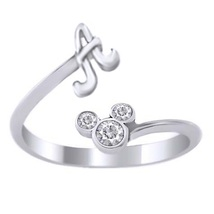 Disney Mickey Mouse Diamond Initial A Ring 10K White Gold Plated Pure 925 Silver - $22.98
