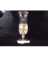 Viking Glass Fine Crystal Yellow Floral Tall Stemmed Flower Vase, Yellow... - $49.00