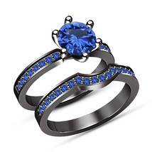 Blue Sapphire Engagement Wedding Bridal Set Ring Black Gold Finish 925 S... - $97.86