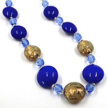 """NECKLACE BLUE YELLOW MURANO GLASS DISC & GOLD LEAF, MADE IN ITALY, 50cm, 20"""" image 2"""