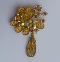 Stunning Gold Diamonte Gold Plated Heart & dangling Tear Drop Brooch Cake Pin - $8.46
