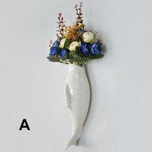 Interior Wall Hung Decorative Fish Shape Vase with Artificial Flowers Home Bar image 5