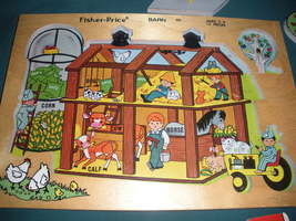 Vintage Fisher Price Pick Up 'N Peek #501 Barn Puzzle VG++-EXC (B) image 2