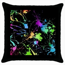 Throw pillow case abstract paint stains black background design - $19.50