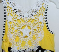 Rare Editions Girls Cotton Lace Sleeves Back Yellow Black Flowers Size 5 image 5