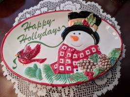 Fitz and Floyd Holly Berry Snowman Happy Holidays Small Platter Tray - $9.00