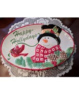 Fitz and Floyd Holly Berry Snowman Happy Holidays Small Platter Tray - $9.99
