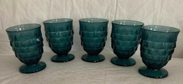 "Vintage INDIANA GLASS ""Whitehall"" American Cubed Juice Blue Tumblers set... - $29.69"