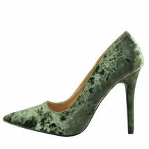 Qupid Milia 01 Khaki Women's Crushed Velvet Pointed Toe Pumps - $28.95