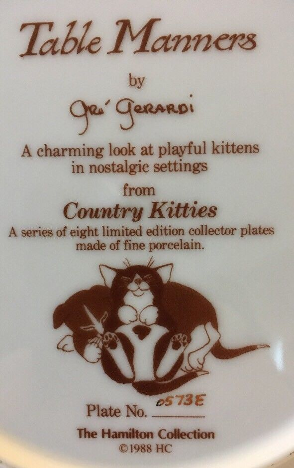 COUNTRY KITTIES TABLE MANNERS THE HAMILTON COLLECTION 1988