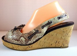 Sperry Top-Sider Wedge Sandals Womens 10 M Faux Snakeskin Slingback Shoes - $39.55