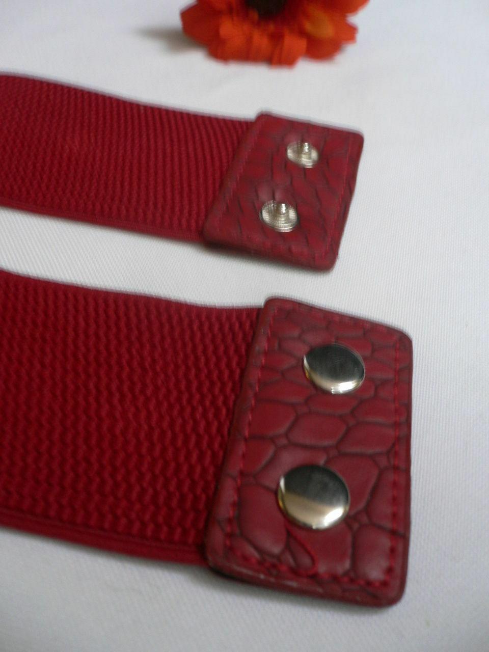 Femme Hip Taille Élastique Deux Rangs Argent Anneaux Métal Rouge Mode Ceinture image 5