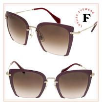 Miu Miu Noir Rasoir 52R Square Burgundy Gold Metal Brown Sunglasses MU52RS - $267.30