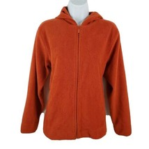 Studio Works Fleece Jacket Orange Hooded Womens Size S  - $22.54