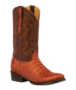 Mens Cognac Western Boots Crocodile Tail Skin Genuine Leather Cowboy Rou... - €236,23 EUR