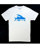 NEW PATAGONIA WHITE BLUE FLYING FISH COTTON BLEND SLIM FIT TEE T-SHIRT S... - $16.82