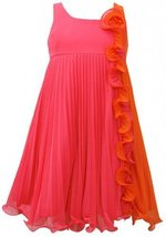 Bonnie Jean Girls Fuchsia Orange Pleated Chiffon Colorblock Babydoll Dress image 2