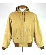 Vtg 1990s Carhartt Distressed Tan Canvas Work Jacket Hood Mens L Not Ins... - $24.74