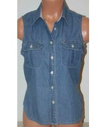 "TOMMY HILFIGER Sz 6 Blue Denim Jean Shirt Chest: 35"" Tank Top Sleeveless... - $11.65"