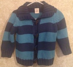 6-12 Months Old Navy Sweater Blue Navy Stripes Wooden Buttons - $11.30