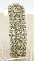 Clear Grey Gray Teardrop Rhinestone Wide Chunky Silver Tone Bracelet Vin... - $89.09